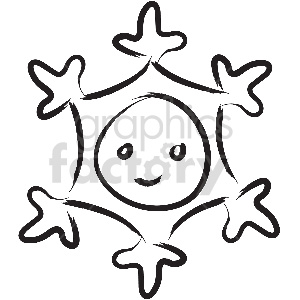 black and white snowflake vector clipart
