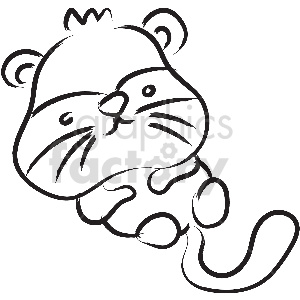 black and white otter vector clipart clipart. Royalty-free image # 413382