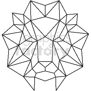 black and white lion head geometic shape vector clipart clipart. Royalty-free image # 413388