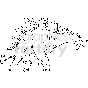 black and white stegosaurus vector clipart clipart. Royalty-free image # 413405