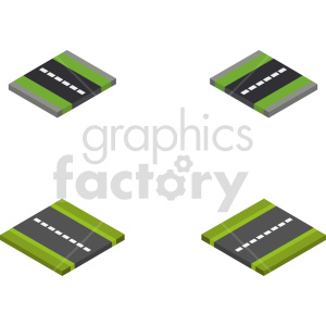 isometric road section vector icon clipart 2