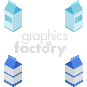 isometric milk vector icon clipart bundle