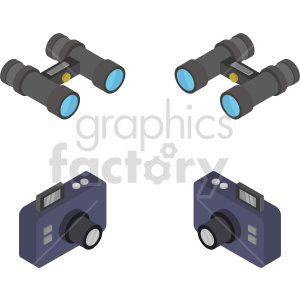 camera and binocular isometric vector icon clipart bundle