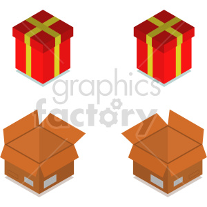tools gift presents boxes isometric