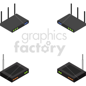 clipart - isometric network router vector icon clipart 2.
