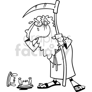 black and white father time wearing mask crying over broken hourglass vector clipart