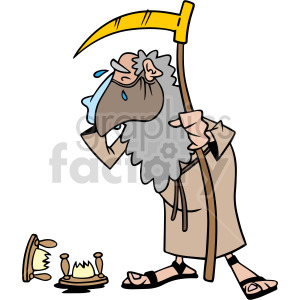 clipart - father time wearing mask crying over broken hourglass vector clipart.