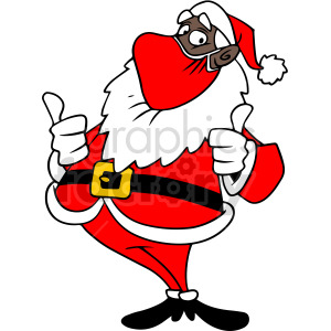 black Santa wearing mask holding thumbs up vector clipart clipart. Royalty-free image # 414696