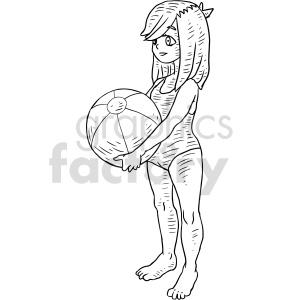 girl beach ball black and white clipart