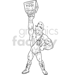 strong man black and white clipart clipart. Commercial use image # 414782