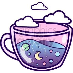 clipart - teacup galaxy vector clipart.