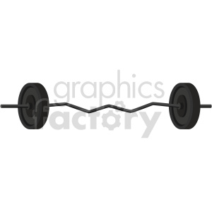 curved barbell with weights vector graphic clipart. Commercial use image # 414905