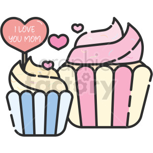 I love you mom cupcake clipart clipart. Commercial use image # 415122