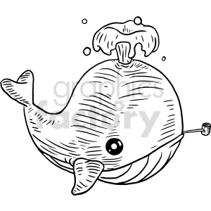 whale smoking pipe vector graphic clipart. Commercial use image # 415135
