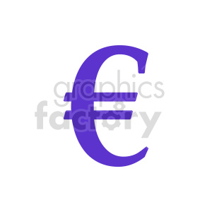 purple euro symbol vector clipart. Commercial use image # 415556