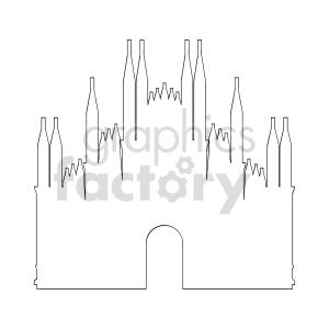 Duomo di Milano vector outline clipart. Commercial use image # 415636