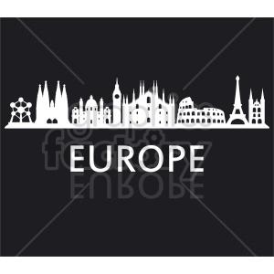 clipart - Europe building skyline vector.