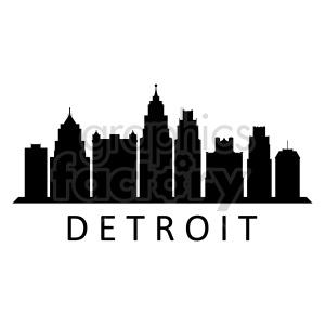 Detroit city skyline clipart. Commercial use image # 415688