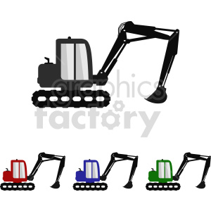 cartoon excavator bundle vector graphic clipart. Commercial use image # 416034