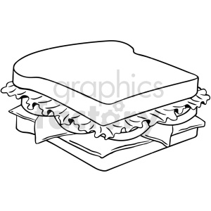 black and white sandwich vector clipart clipart. Commercial use image # 416132