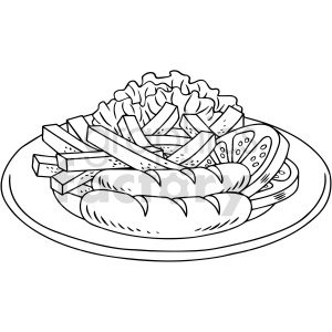 black and white chorizo vector clipart clipart. Commercial use image # 416138