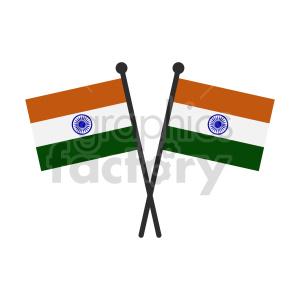 double indian flag vector clipart