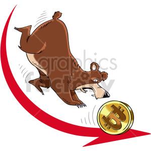 clipart - cartoon bear chasing bitcoin.