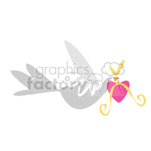 Dove carrying pink heart clipart. Commercial use image # 130327