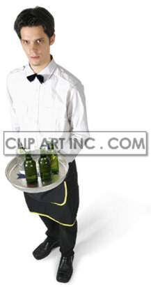 waiter server fine dining restaurant brasserie standing holding tray trey bottle beer alcohol man male worker uniform   3d4031lowres photos people