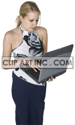 Teenage Girl Standing While Working on a Laptop Computer clipart. Royalty-free image # 177495
