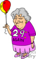 Older lady holding a birthday balloon and wearing 29 again shirt