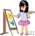 a little girl with a paint palette and a brush painting a flower