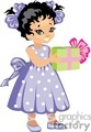a little girl happy holding a green and pink gift  gif, png, jpg, eps