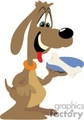 happy dog holding a bone on a plate gif, png, jpg, eps