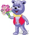 purple teddy bear with a red vest yellow bow and a pink bouquet