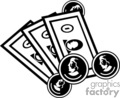 vector clip art vinyl-ready cutter black white money currency dollar dollars coin coins