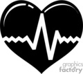 black heart with an ekg symbol