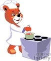 Chef teddy bear cooking in a stove