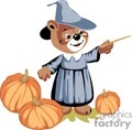 Witch teddy bear around pumpkins