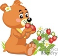 Little girl teddy eating strawberrys