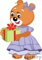 Girl teddy bear holding a present