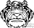 black and white cartoon tiger mascot