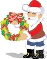 santa claus holding a fall berry wreath with a red bow gif, png, jpg, eps