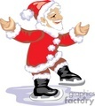 Happy Santa Claus Trying to Ice Skate
