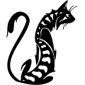 black and white cat with stripes gif, png, jpg, eps