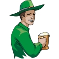 an irish man wearing an irish hat holding a beer and laughing