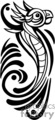 black and white tribal art of bird with abstract body gif, png, jpg, eps