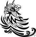 Black and white tribal bird with the appearance of horns