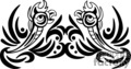 black and white tribal art of mirror image birds gif, png, jpg, eps