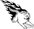 Flaming cougar attacking
